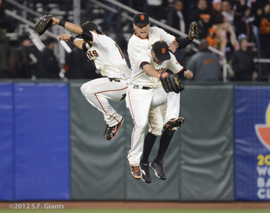 sf giants, san francisco giants, photo, september 18, 2012, hunter pence, angel pagan, gregor blanco