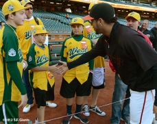 sf giants, san francisco giants, photo, september 19, 2012, petaluma little league all stars, gregor blanco