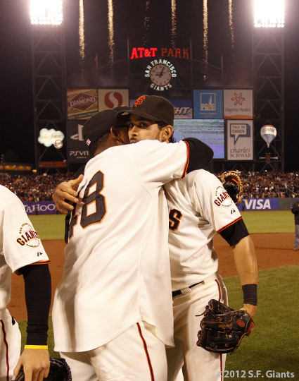 San Francisco Giants, S.F. Giants, photo, 2012, Pablo Sandoval and Angel Pagan