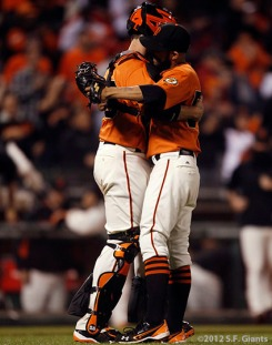 San Francisco Giants, S.F. Giants, photo, 2012, Buster Posey, Sergio Romo