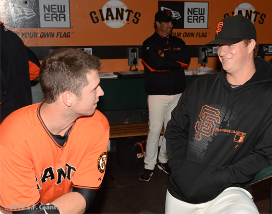 San Francisco Giants, S.F. Giants, photo, 2012, Buster Posey, Matt Cain