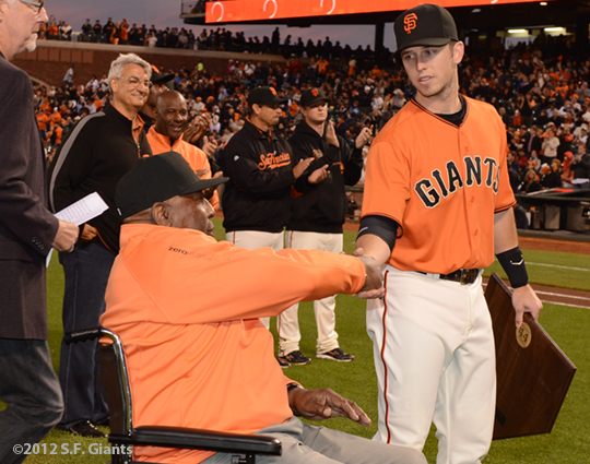 San Francisco Giants, S.F. Giants, photo, 2012, Willie McCovey and Buster Posey