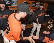 Buster shaking hands with teammates