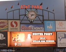 San Francisco Giants, S.F. Giants, photo, 2012, scoreboard