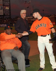 San Francisco Giants, S.F. Giants, photo, 2012, Willie McCovey, Buster Posey