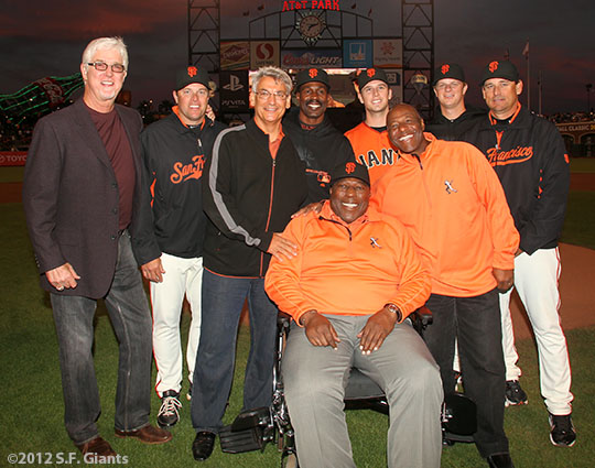 San Francisco Giants, S.F. Giants, photo, 2012, Mike Krukow J.T. Snow, Dave Dravecky, Shawon Dunston, Willie McCovey, Buster Posey, Mike Felder, Matt Cain, Mark Gardner