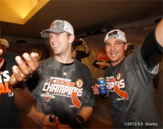 sf giants, san francisco giants, photo, 2012, september 22, giants clinch the west, buster posey, ryan theriot
