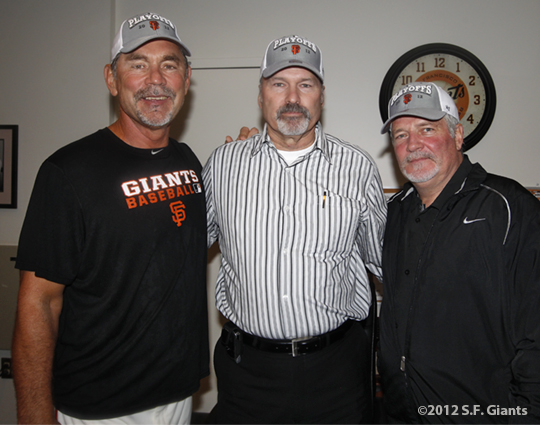 sf giants, san francisco giants, photo, 2012, september 22, giants clinch the west, bruce bochy, dick tidrow, brian sabean
