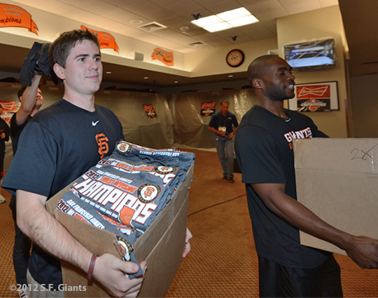 sf gaints, san francisoc giants, photo, september 22, 2012, nl west champtions, clinch the west, zack welsh, brandon evans