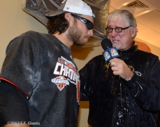 sf giants, san francisco giants, photo, 2012, september 22, giants clinch the west, mike krukow, brandon crawford