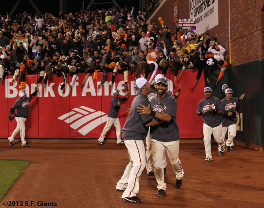 San Francisco Giants, S.F. Giants, photo, 2012, George Kontos, Angel Pagan