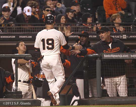 sf giants, san francisco giants, photo, 2012, Marco scutaro, bruce bochy, bambam meulens, gregor blanco