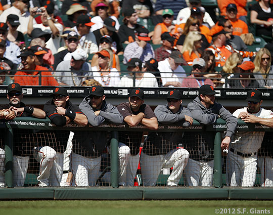 sf giants, san francisco giants, photo, 2012, september 27, 2012, fans, billy hayes, eli whiteside, madison bumgarner, jeremy affeldt, matt cain, dan runzler, xavier nady