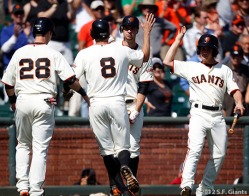 sf giants, san francisco giants, photo, 2012, september 27, 2012, buster posey, hunter pence, marco alioto