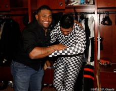 San Francisco Giants, S.F. Giants, photo, 2012, Pablo Sandoval and Hector Sanchez