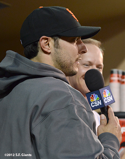 sf giants, san francisco giants, photo, september 28, 2012, san diego, clay hensley, andy baggerly