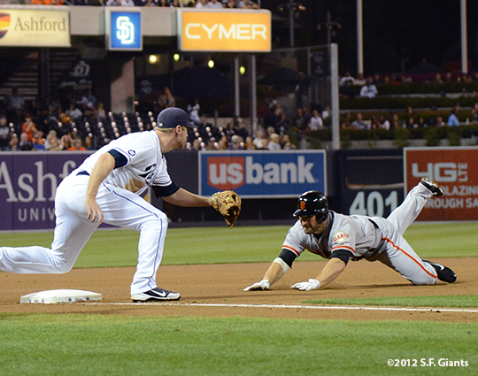 sf giants, san francisco giants, photo, september 28, 2012, san diego, xavier nady, triple