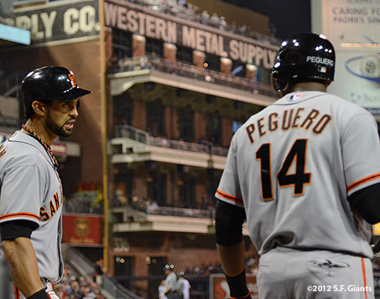 sf giants, san francisco giants, photo, 2012, francisco peguero, angel pagan