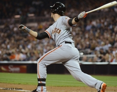 sf giants, san francisco giants, photo, september 28, 2012, san diego, buster posey, triple