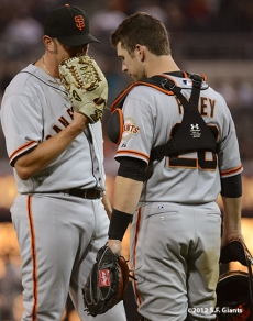 jeremy affeldt, buster posey, sf giants, san francisco giants, photo, september 28, 2012, san diego,