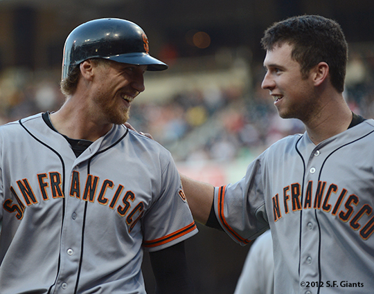 sf giants, san francisco giants, photo, 9/29, 2012, hunter pence, buster posey
