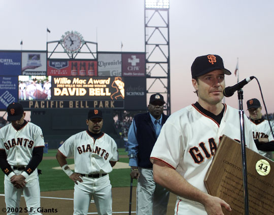 sf giants, san francisco giants, willie mac award, photo, group, willie mccovey, 2002, david bell, benito santiago, willie mccovey, jeff kent