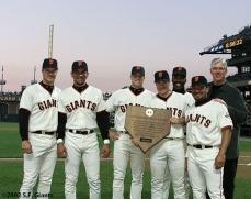 2002 - Jeff Kent (1998), Benito Santiago (2001), JT Snow (1997, 2004), David Bell (2002), Shawon Dunston (1996), Marvin Benard (1999) & Mike Krukow (1985, 1986)