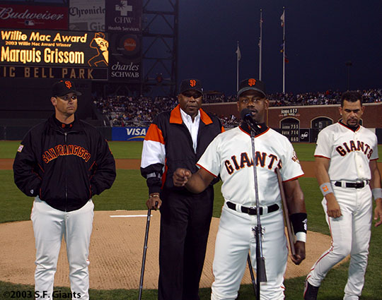 sf giants, san francisco giants, willie mac award, photo, group, willie mccovey, 2003. mark gardner, willie mccovey, marquis grissom, benito santiago