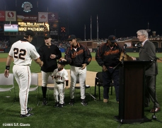 sf giants, san francisco giants, willie mac award, photo, group, willie mccovey, 2005, mike matheny, jt snow, shane snow, mark gardner, willie mccovey, mike krukow