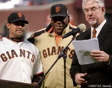 sf giants, san francisco giants, willie mac award, photo, group, willie mccovey, 2007, mike krukow, bengie molina