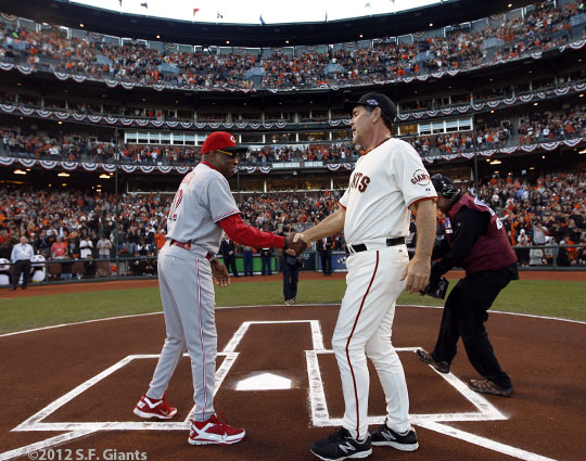 San Francisco Giants, S.F. Giants, photo, 2012, National League Division Series, Dusty Baker, Bruce Bochy