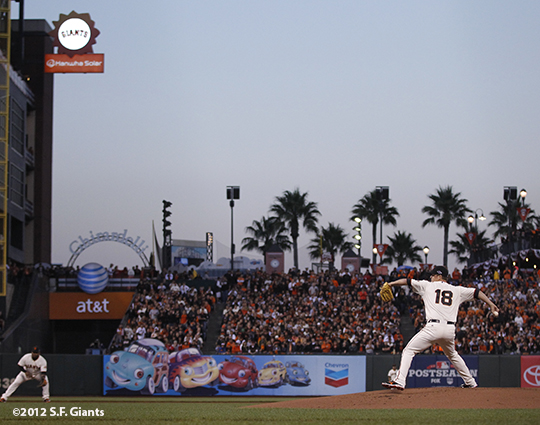 sf giants, san francisco giants, photo, 10/6/2012, nlds game 1, matt cain