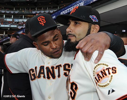 San Francisco Giants, S.F. Giants, photo, 2012, Postseason, Pablo Sandoval, Sergio Romo