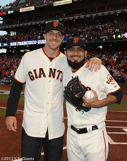 San Francisco Giants, S.F. Giants, photo, 2012, National League Division Series, Alex Smith and Sergio Romo
