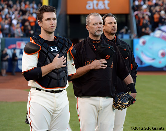 San Francisco Giants, S.F. Giants, photo, 2012, National League Division Series, Buster Posey, Bill Hayes, Mark Gardner