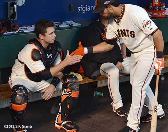 San Francisco Giants, S.F. Giants, photo, 2012, Postseason, Buster Posey, Angel Pagan
