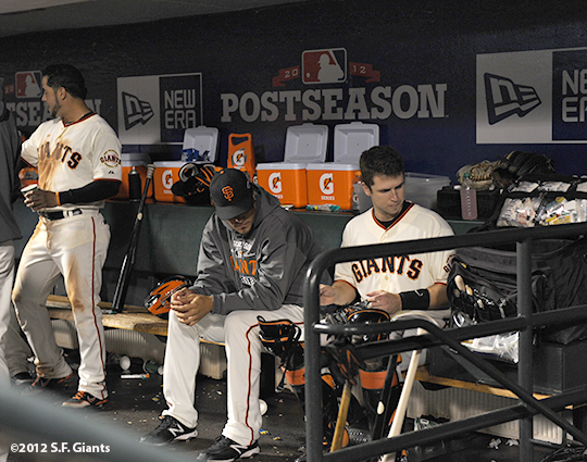 San Francisco Giants, S.F. Giants, photo, 2012, Postseason, Gregor Blanco, Javier Lopez, Buster Posey