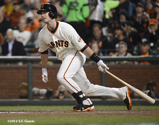 sf giants, san francisco giants, photo, 10/6/2012, nlds game 1, buster posey