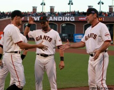 San Francisco Giants, S.F. Giants, photo, 2012, National League Division Series, Hunter Pence, Angel Pagan and Bruce Bochy