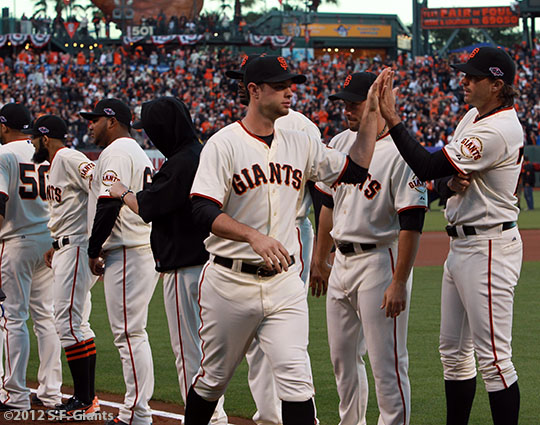 San Francisco Giants, S.F. Giants, photo, 2012, National League Division Series, Brandon Belt, Barry Zito