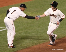 sf giants, san francisco giants, photo, 10/6/2012, nlds game 1, tim flannery, buster posey