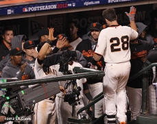 sf giants, san francisco giants, photo, 10/6/2012, nlds game 1, buster posey, team