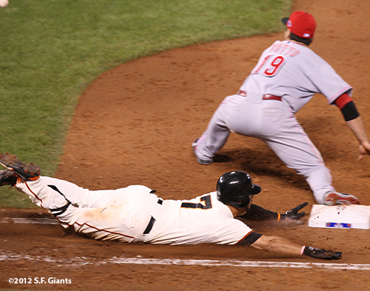 sf giants, san francisco giants, photo, 10/6/2012, nlds game 1, gregor blanco, joey votto