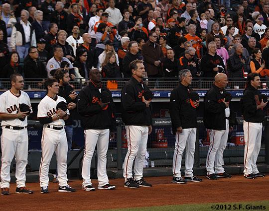 San Francisco Giants, S.F. Giants, photo, 2012, Postseason, National Anthem
