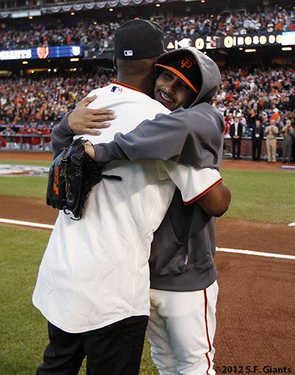 San Francisco Giants, S.F. Giants, photo, 2012, Postseason, Edgar Renteria, Sergio Romo