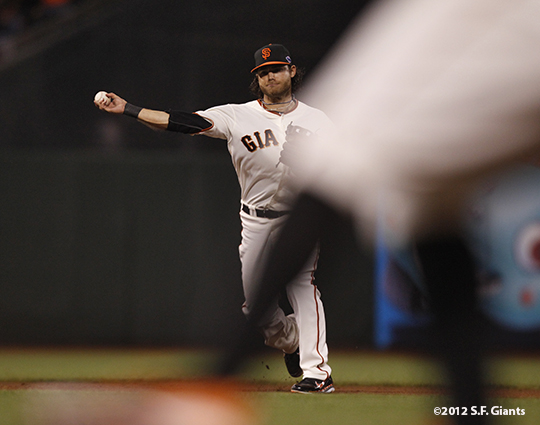 sf gaints, san francisoc giants, photo, 2012, nlds game 2, 10/7/2012, brandon crawford