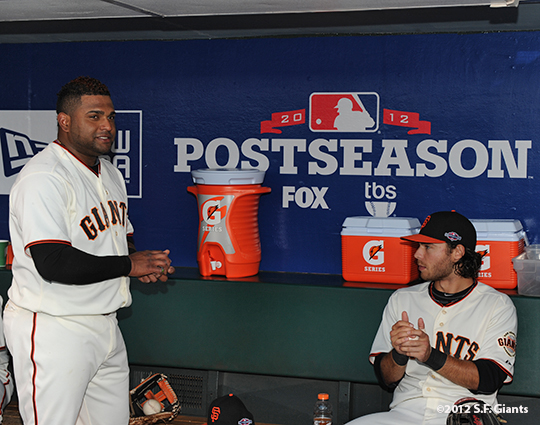 San Francisco Giants, S.F. Giants, photo, 2012, Postseason, Pablo Sandoval and Brandon Crawford