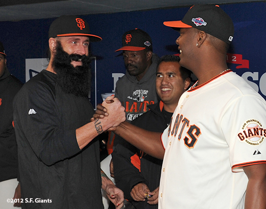 San Francisco Giants, S.F. Giants, photo, 2012, Postseason, Brian Wilson and Edgar Renteria