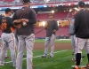 sf giants, san francisco giants, photo, 2012, nlds, work out day, aubrey huff, javier lopez, brandon belt, matt cain, jeremy affeldt
