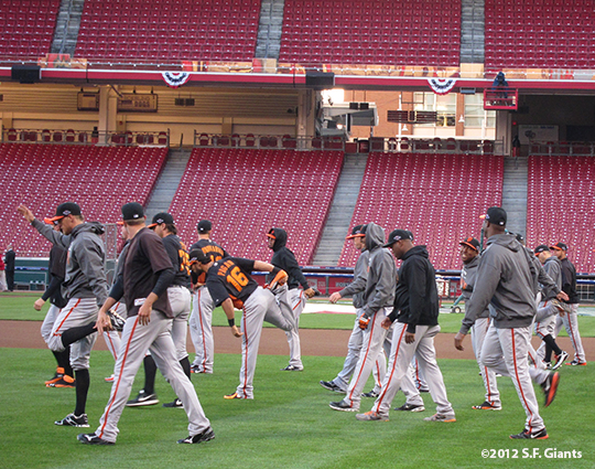 sf giants, san francisco giants, photo, 2012, nlds, work out day, team